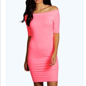 Pink off the shoulder dress from boohoo